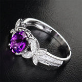 Oval Dark Amethyst Engagement Ring Pave Diamond Wedding 14k White Gold 6x8mm - Bowknot - Lord of Gem Rings - 3