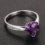 Heart Shaped Amethyst Engagement Ring Pave Diamond Wedding 14K White Gold 8mm Claw Prongs - Lord of Gem Rings - 2