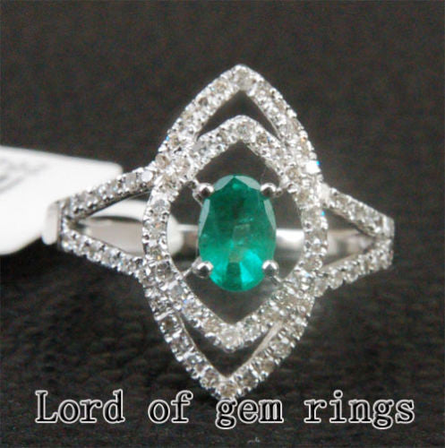 Oval Emerald Engagement Ring Pave Diamond Wedding 14K White Gold 4x6mm  Unique - Lord of Gem Rings - 1
