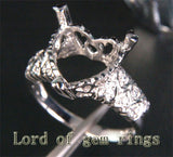 Diamond Engagement Semi Mount Ring 14K White Gold Setting Heart Shaped 12mm - Lord of Gem Rings - 3