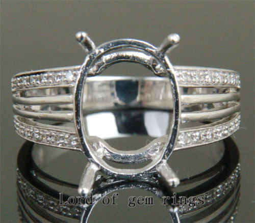 Diamond Engagement Semi Mount Ring 14K White Gold Setting Oval 11x15mm - Lord of Gem Rings - 1