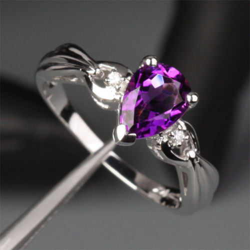 Pear Amethyst Engagement Ring Diamond Wedding 14k White Gold 6x8mm - Lord of Gem Rings - 1