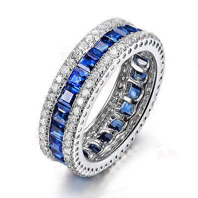 Princess Cut Ceylon Blue Sapphire VS-H Diamonds Wedding Band 14k White Gold - Lord of Gem Rings - 1