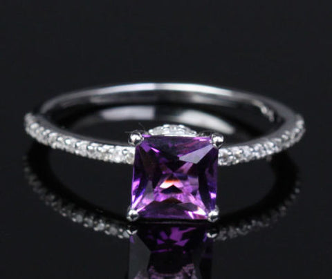 Princess Amethyst Engagement Ring Pave Diamond Wedding 14K White Gold 6.5mm - Lord of Gem Rings - 1