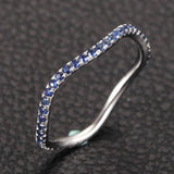 Ready to Ship - Natural Blue Sapphire Wedding Band Eternity Anniversary Ring 14K White Gold - Lord of Gem Rings - 2