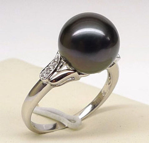 Black Tahitian Pearls Engagement Ring Diamond Wedding 14K White Gold 10mm - Lord of Gem Rings - 1