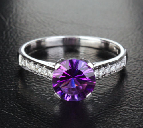 Round Amethyst Engagement Ring Pave Diamond Wedding 14K White Gold 7.3mm Cocktail - Lord of Gem Rings - 1