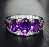 Oval Amethyst Engagement Ring Pave Diamond Wedding 14K White Gold 6x8mm - 3 stones - Lord of Gem Rings - 1