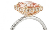 Reserved for Lindsey 9mm Cushion Morganite Ring Trio set 14K Rose Gold French Pave diamond undergallery
