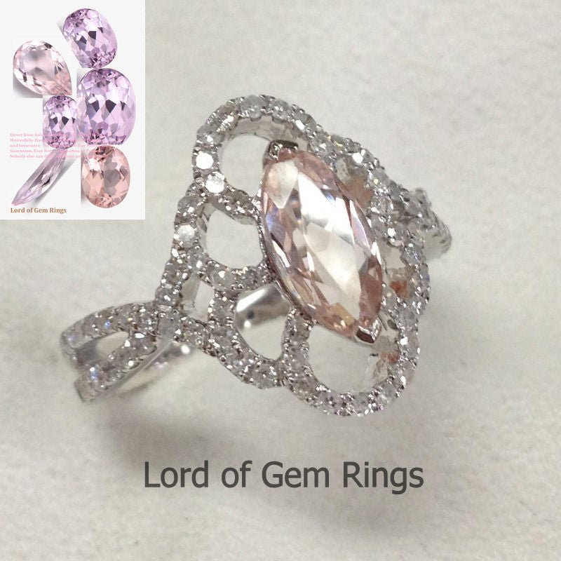 Marquise Morganite Engagement Ring Pave Diamond Wedding 14K White Gold 4x8mm - Lord of Gem Rings - 1