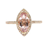 Marquise Pink Morganite Engagement Ring Pave Diamond Wedding 14K Rose Gold 5x10mm - Lord of Gem Rings - 2