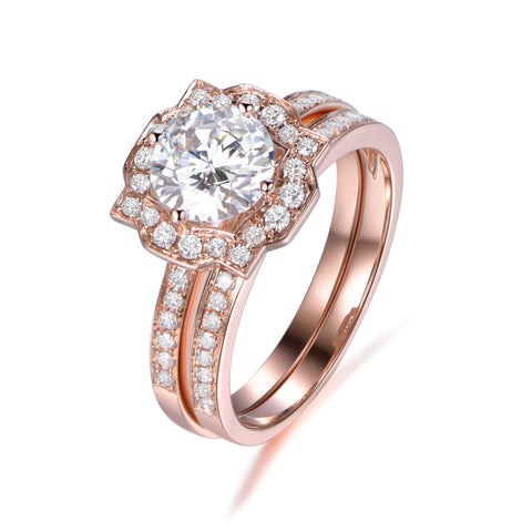 Moissanite Bridal Set Round Engagement Ring and Pave Diamond Wedding Band 14K Rose Gold 7mm Art Deco Halo