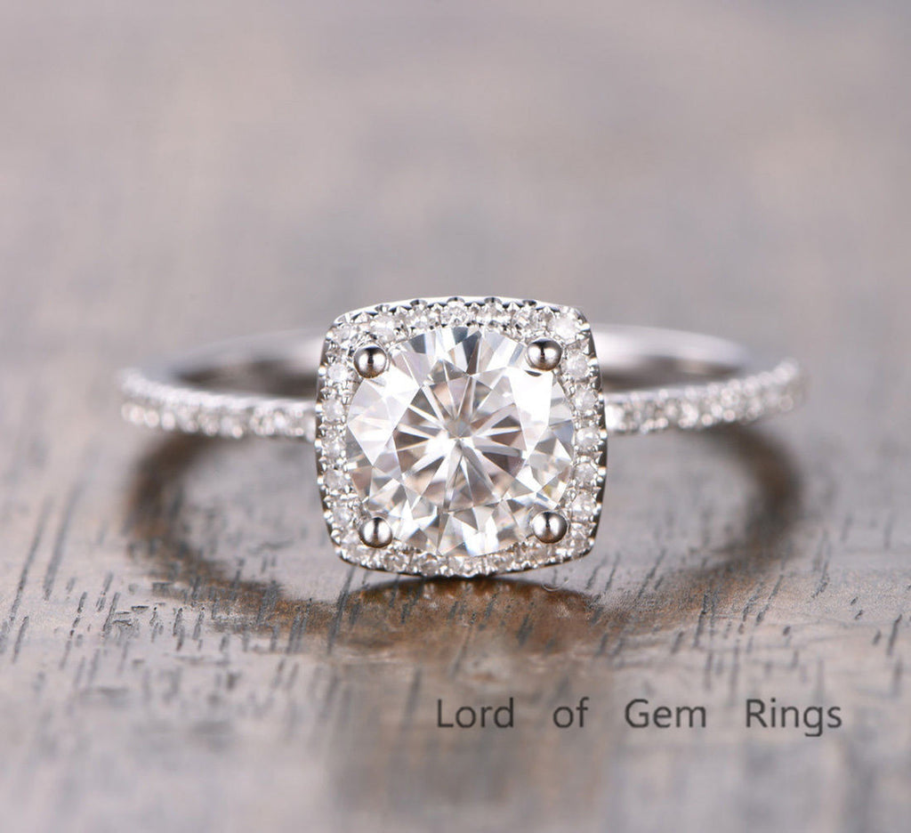 Reserved for outdoorcorner Custom Round Moissanite Engagement Ring - Lord of Gem Rings - 1