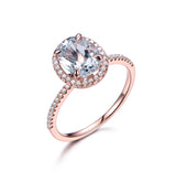 6x8mm Oval Aquamarine Engagement Ring Pave Diamond Wedding 14K Rose Gold