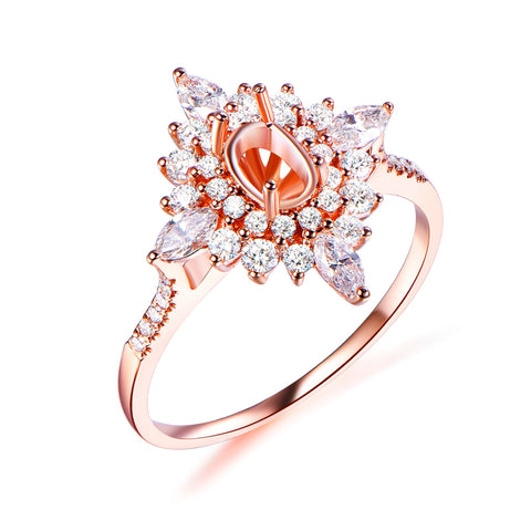 4x6mm Oval Marquise & Round Diamond Double Halo Semi-Set Engagement Ring 14K Rose Gold