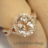 Oval Morganite Engagement Ring Pave Diamond Wedding 14K Rose Gold 8x10mm - Lord of Gem Rings - 2