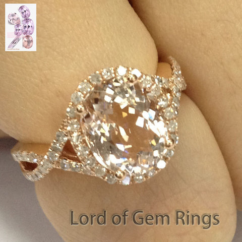 Ready to ship:Oval Morganite Engagement Ring Pave Diamond Wedding 14K Rose Gold 8x10mm - Lord of Gem Rings - 1