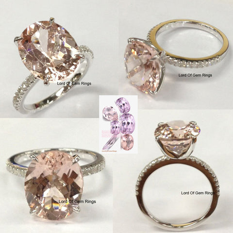 Reserved for AAA Oval Morganite Engagement Ring 14K  Gold 8x10mm