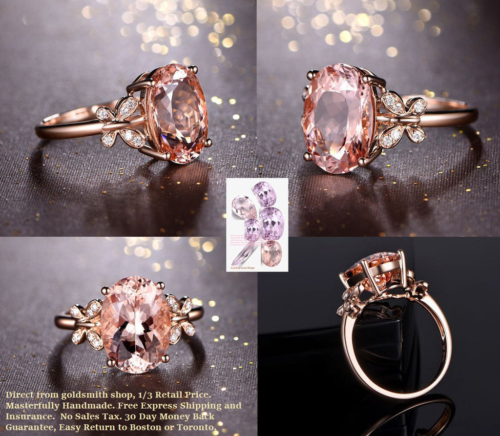 Oval Morganite Engagement Ring Diamond Wedding 14K Rose Gold 10x12mm Butterfly Shank - Lord of Gem Rings - 1