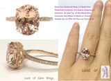 Reserved for Judi, Oval Pink Morganite Engagement Ring Pave Diamond 14K Rose Gold - Lord of Gem Rings - 7