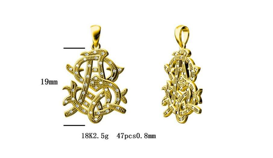 Reserved for Ack Diamond 18K Yellow Gold Pendant AS 19mm