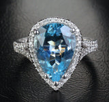 Reserved for Itu, Pear Aquamarine Engagement Ring Diamond Wedding 14K White Gold - Lord of Gem Rings - 1