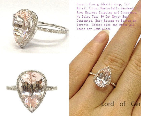 Pear Morganite Engagement Ring Pave Diamond Wedding 14K White Gold 9x11mm - Lord of Gem Rings - 1