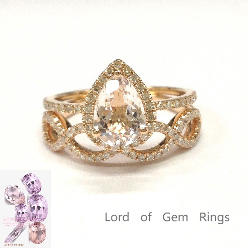 759 Pear Morganite Engagement Ring Sets Pave Diamond 14K Rose Gold
