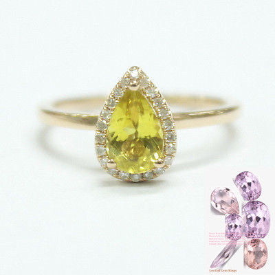 Reserved for  christineh4628, Customization fee. Pear Yellow Tourmaline Engagement Ring Pave Diamond Halo - Lord of Gem Rings - 1