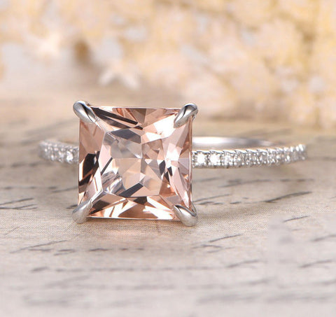 Princess Morganite Engagement Ring Pave Diamond Wedding 14K White Gold 8mm - Lord of Gem Rings - 1