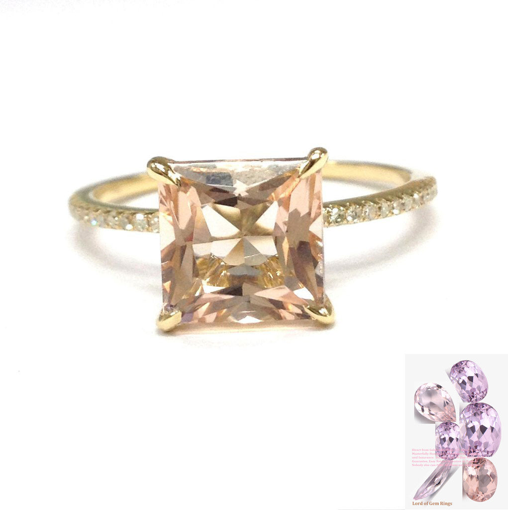 Princess Morganite Engagement Ring Pave Diamond Wedding 14K Yellow Gold 8mm - Lord of Gem Rings - 1