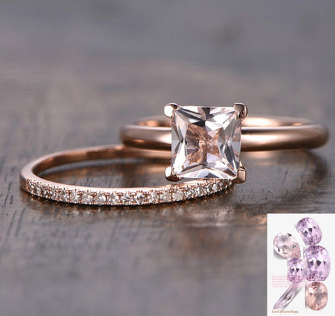 Princess Morganite Engagement Ring Sets Pave Diamond Wedding 14K Rose Gold 6.5mm - Lord of Gem Rings - 1
