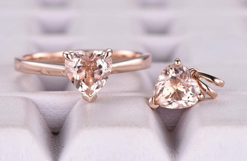 Reserved for bbbirds0 Heart Morganite Ring Plain14K Rose Gold 6.5mm