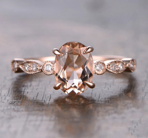 6x8mm Oval Morganite Engagement Ring 0.12ctw diamond Art Deco Shank 14K Rose Gold
