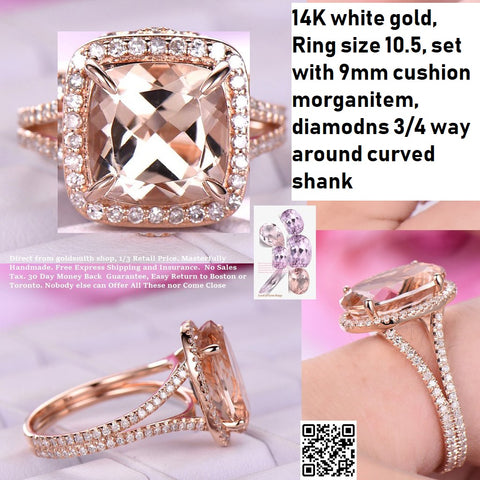 Reserved for Rebecca Cushion Morganite Ring Diamond Split Shank 14K White Gold 9mm