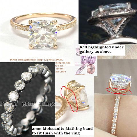 Reserved for Rosie Cushion FB Moissanite Ring Bridal Sets 18K White Gold 7mm