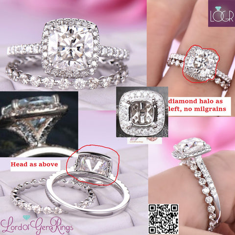 Reserved for Rosie Cushion FB Moissanite Ring Bridal Sets Diamond Halo 18K White Gold 7mm