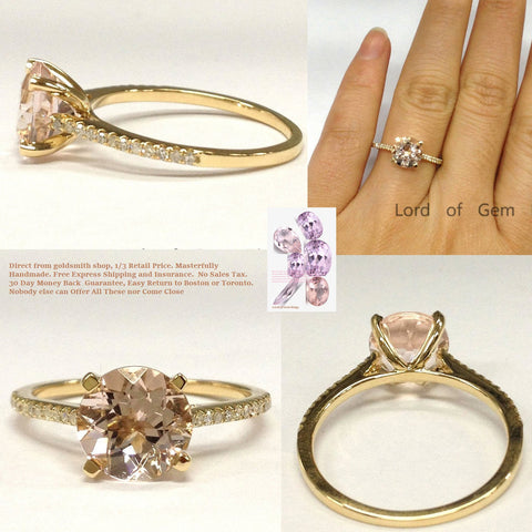Round Morganite Ring Pave Diamond Wedding 14K Yellow Gold cathedral 8mm
