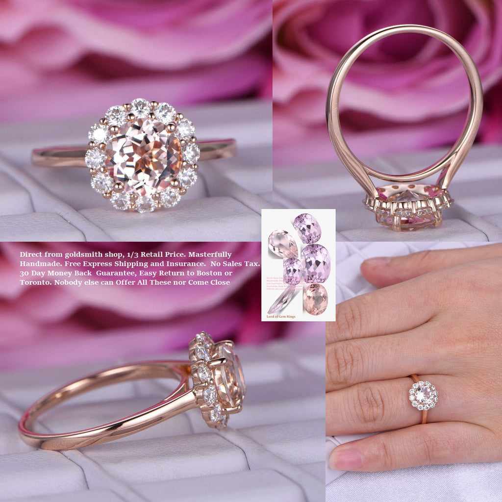 $439 Round Morganite Engagement Cathedral Ring Moissanite Halo 14K ...