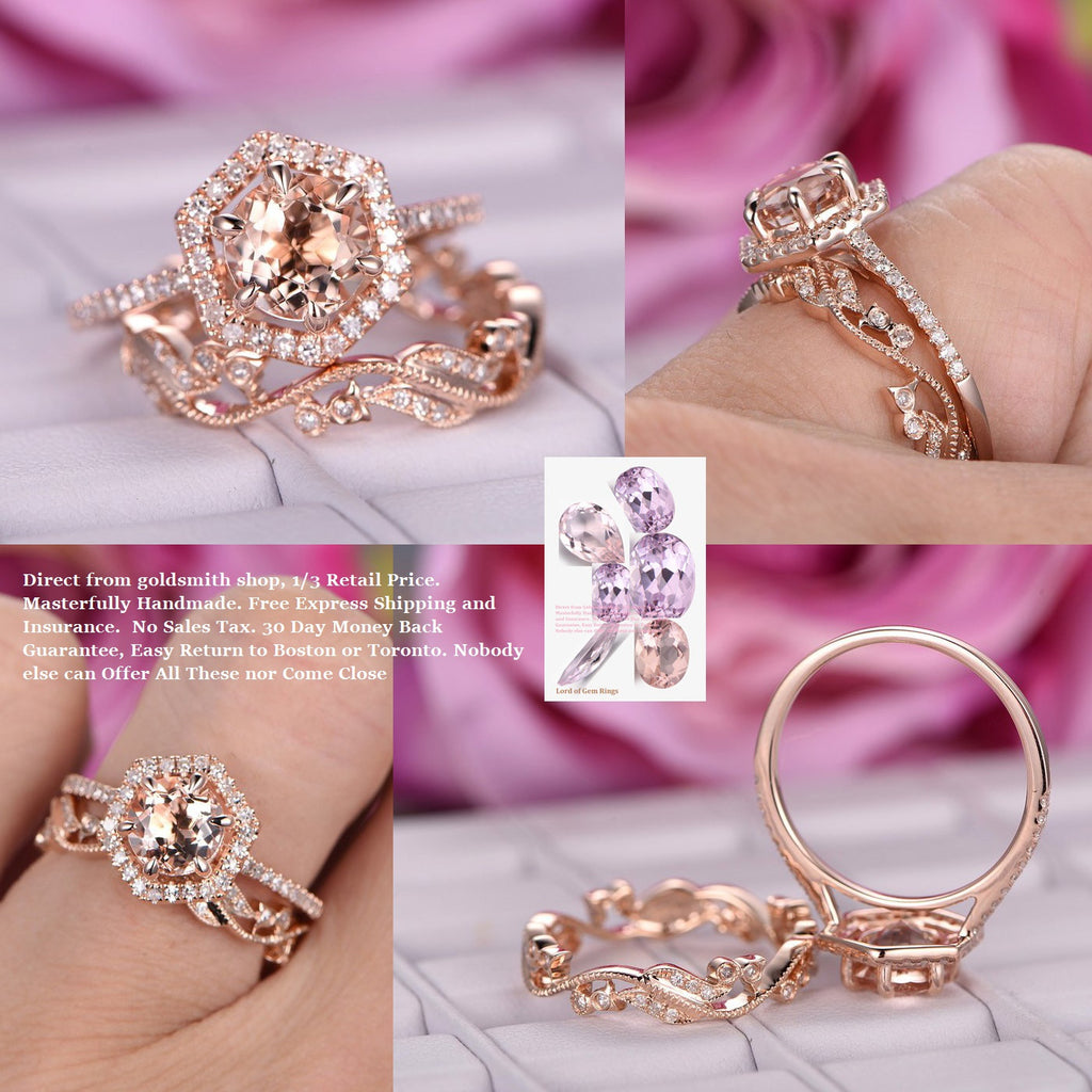 $799 Round Morganite Engagement Ring Sets Floral Wedding Band 14K ...