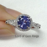 Round Tanzanite Engagement Ring Pave Diamond Wedding 14K White Gold 7mm  Art Deco Claw Prongs - Lord of Gem Rings - 1