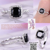Cushion Black Spinel Cathedral Ring Pave Diamond Wedding 14K White Gold 6.5mm