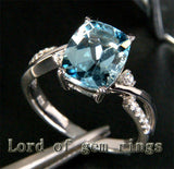 Cushion Aquamarine Engagement Ring Pave  Diamond Wedding 14K White Gold 8x10mm - Lord of Gem Rings - 4