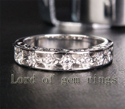 Unique .15ct SI Diamonds Wedding Band Engagement Ring in 14K White Gold, 4.04g - Lord of Gem Rings - 1
