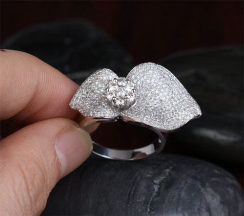 Unique Flower 3.08CT Diamonds Solid 10K White Gold Pave Engagement Gorgeous Ring - Lord of Gem Rings - 1