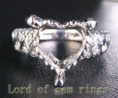 Diamond Engagement Semi Mount Ring 14K White Gold Setting Heart Shaped 12mm - Lord of Gem Rings - 1