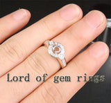 Unique 5mm Round Cut 14K White Gold .40ct SI Diamonds Semi Mount Engagement Ring - Lord of Gem Rings - 4