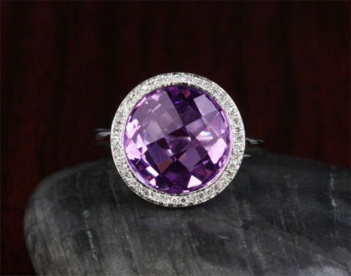 Round Purple Amethyst Engagement Ring Pave  Diamond Halo 14k White Gold Bezel 4.33ct - Lord of Gem Rings - 1