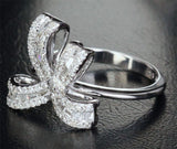 Unique .85ct VS Baguette/Round Diamond  Bowknot Engagement Ring in 14K White Gold - Lord of Gem Rings - 7