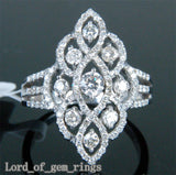 Unique Flower 1.10ct Diamonds 14K White Gold Pave Engagement Wedding Ring Size 7 - Lord of Gem Rings - 2